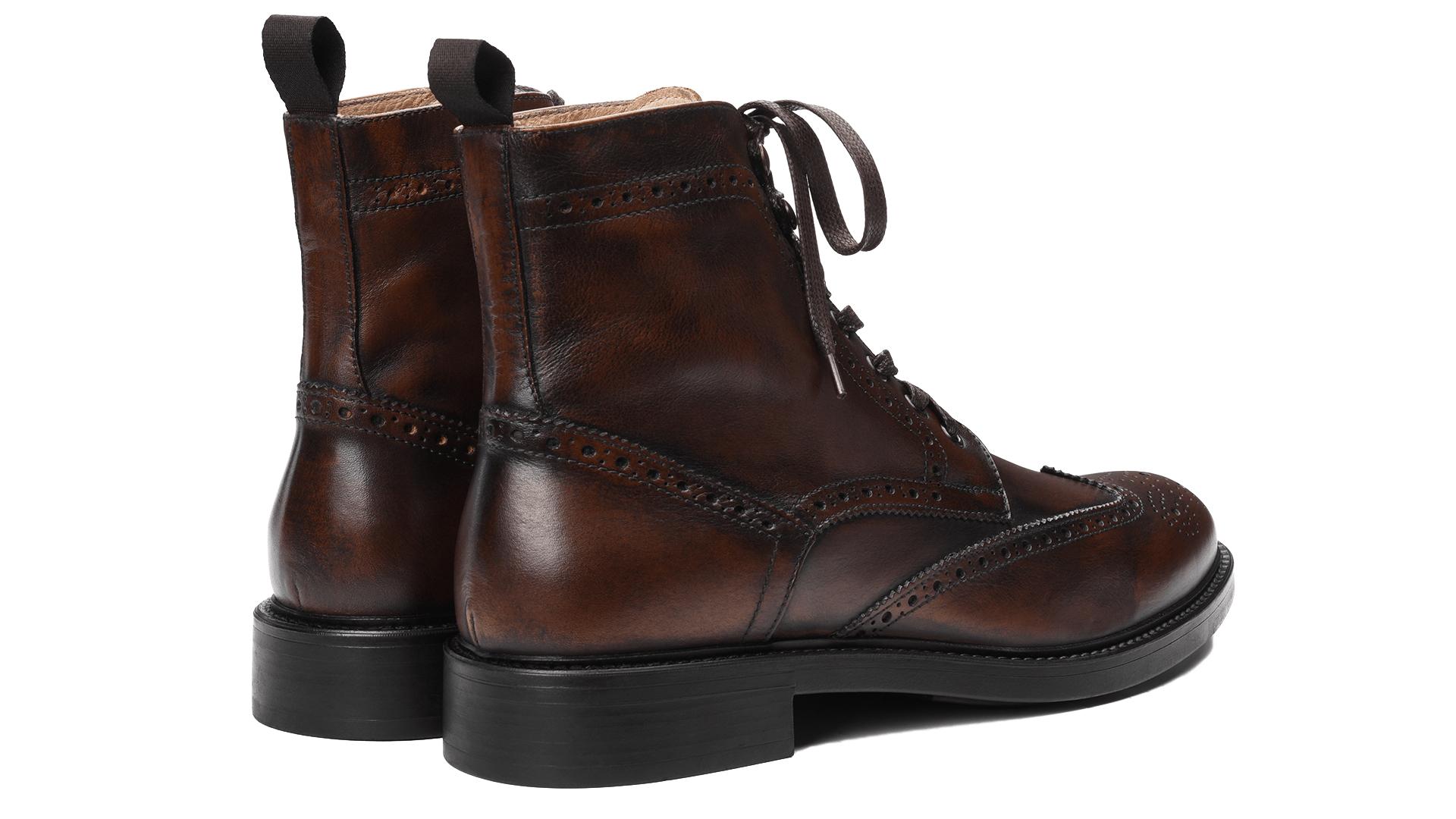 Brogue Boots Skóra Cielęca Heban