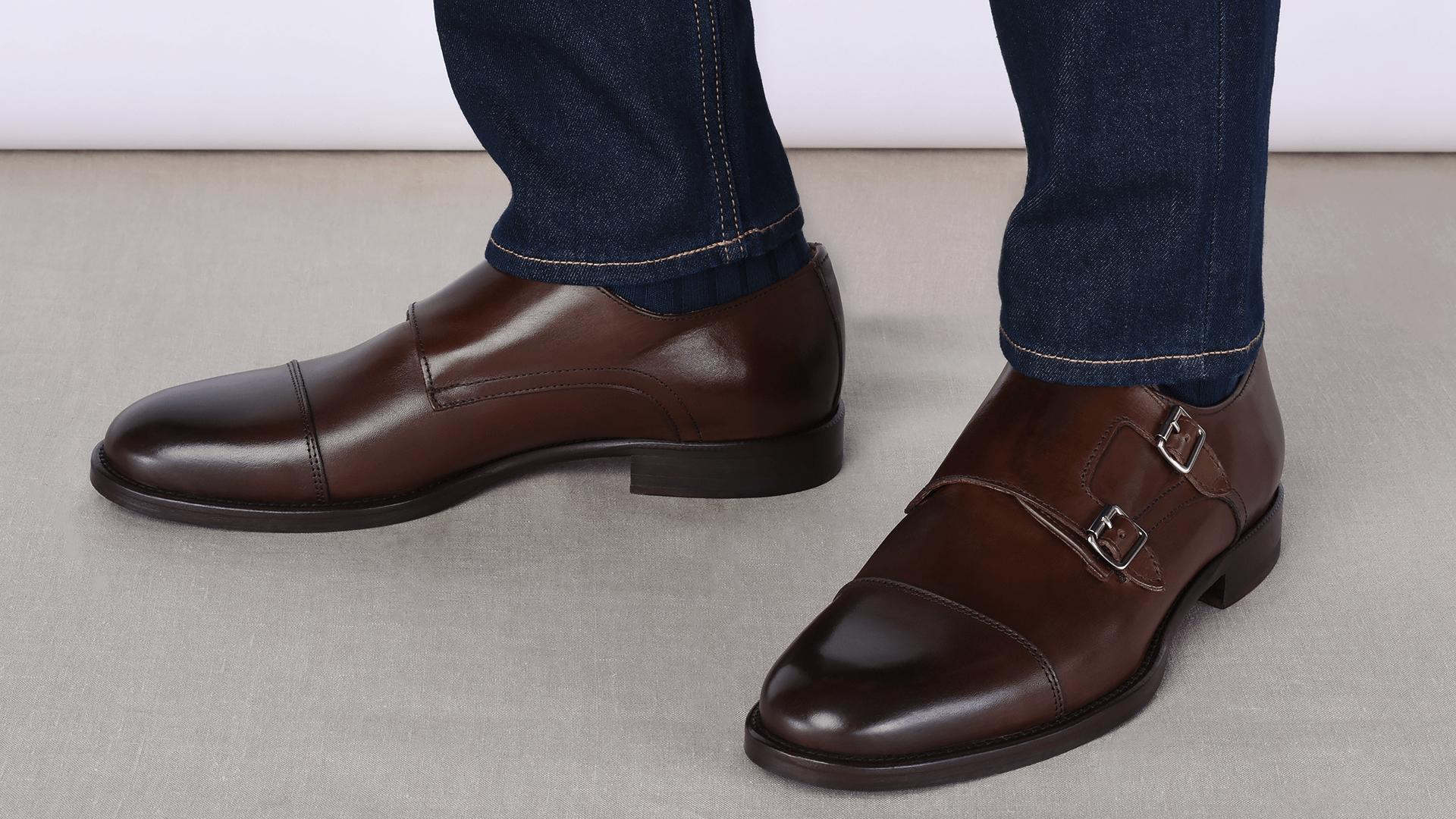 Monk Shoes Skóra Cielęca Brązowe