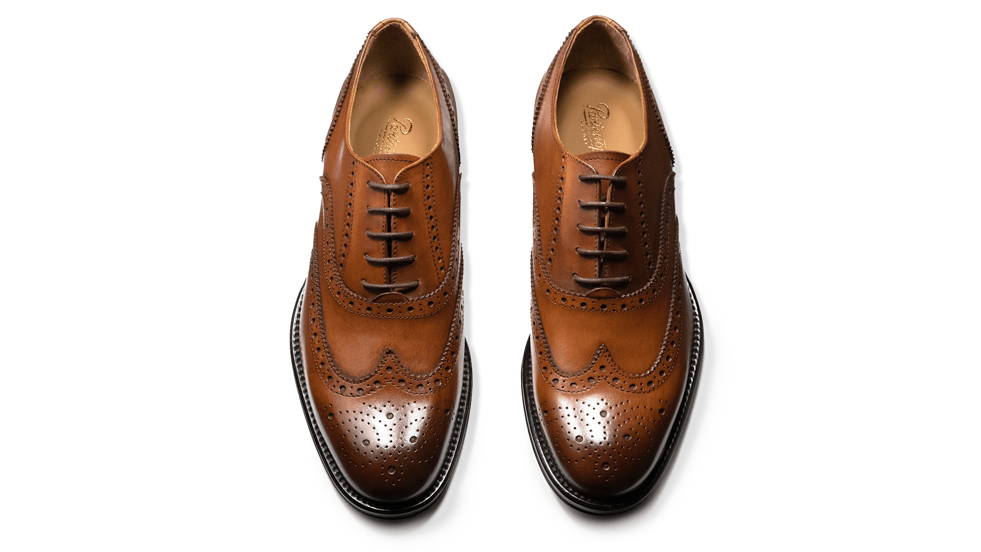 Brogue Oxford Skóra Cielęca Cognac
