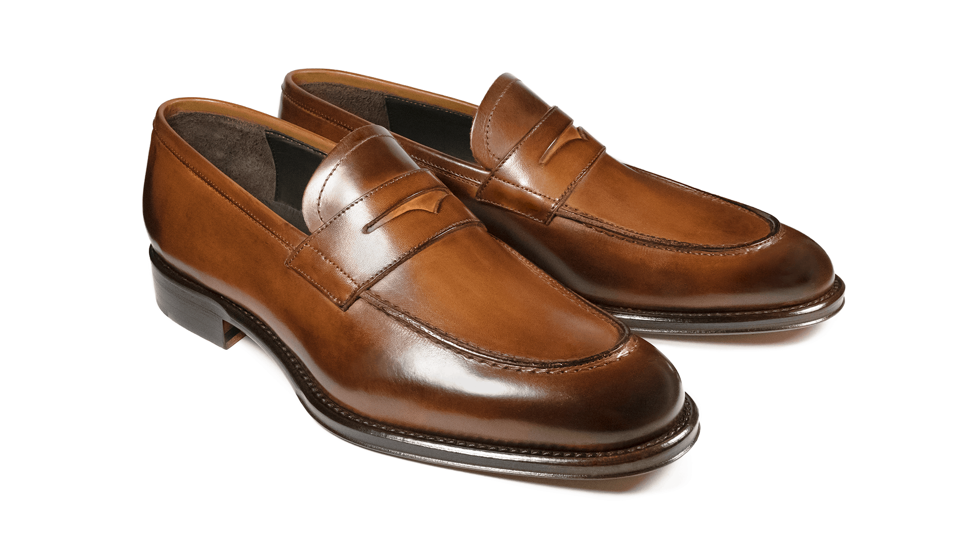Penny Loafers Skóra Crust Cuoio