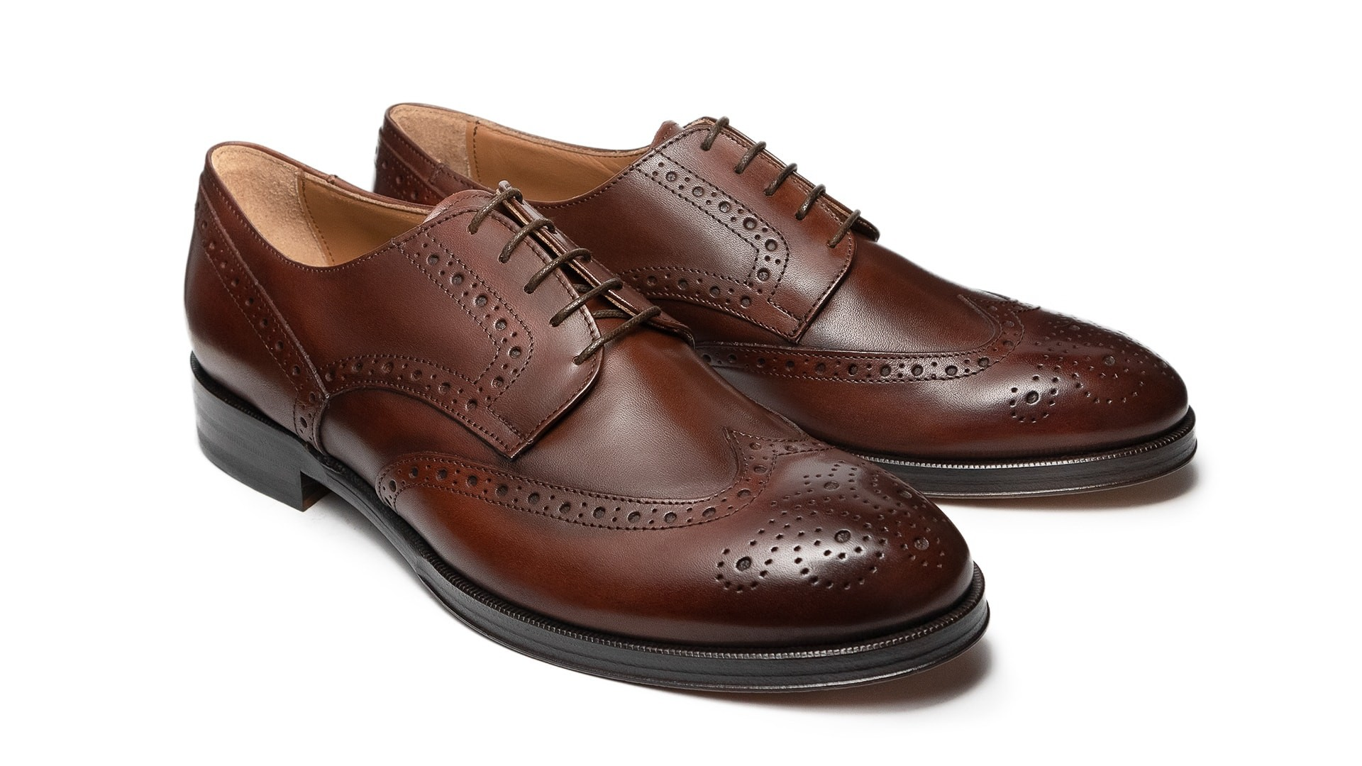 Derby Brogue Skóra Cielęca Marrone