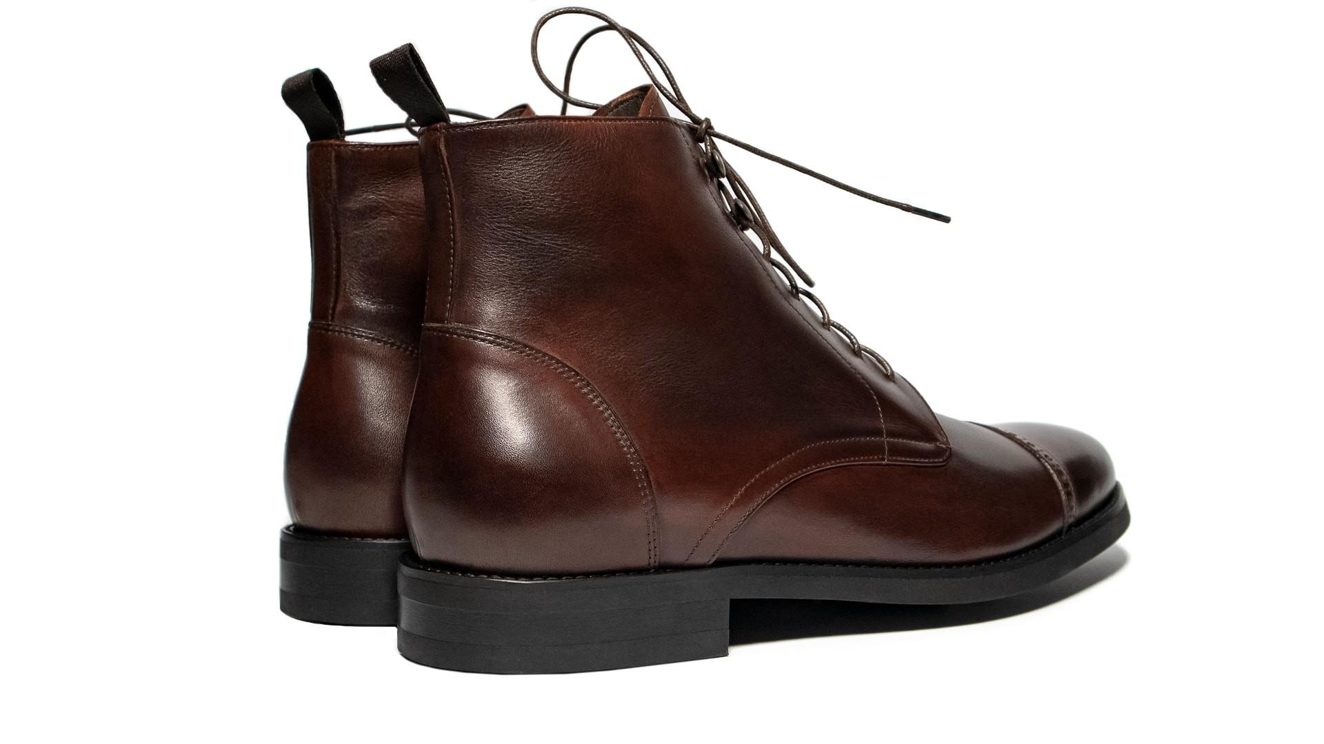 Quarter Boots Skóra Cielęca Marrone