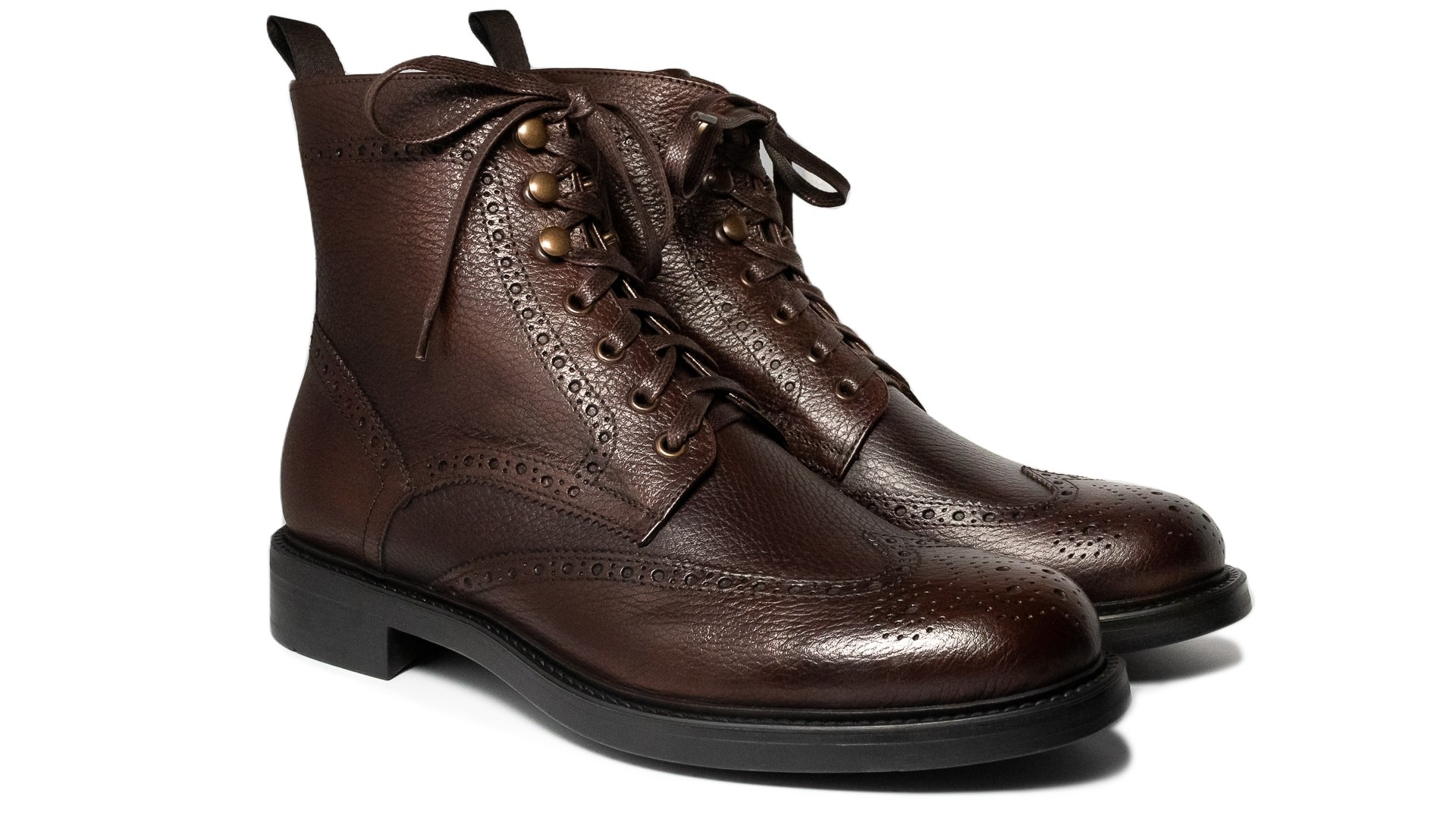 Brogue Boots Full Grain Brąz