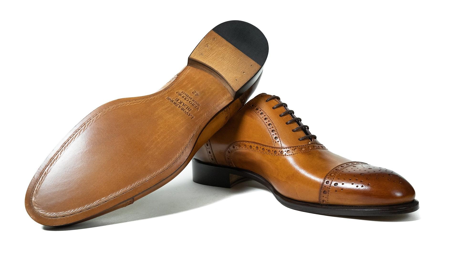 Semi Brogue Calf Leather Tan