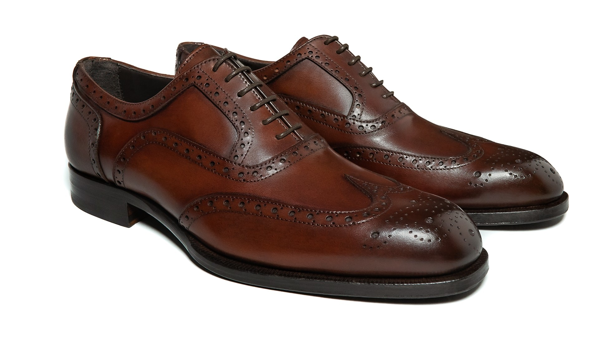 Full Brogue Skóra Crust Marrone