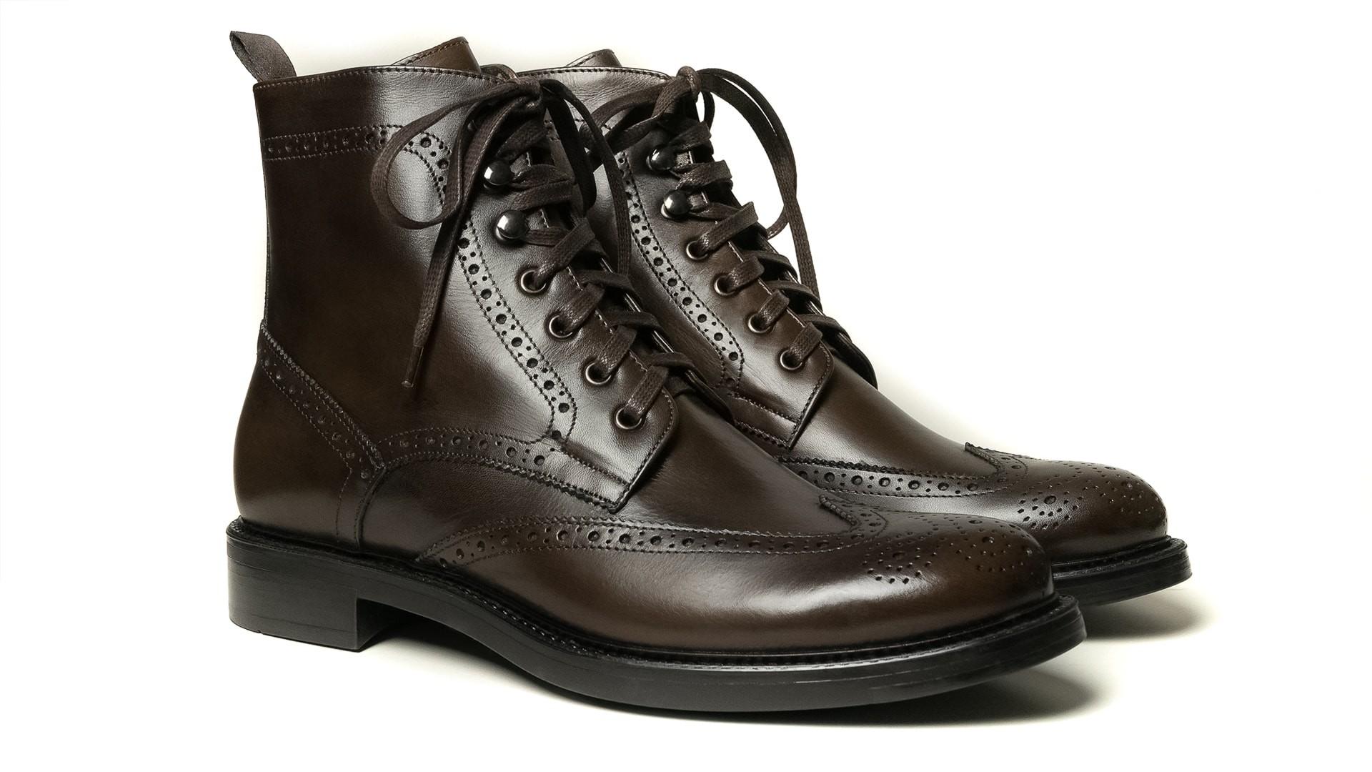 Brogue Boots Skóra Cielęca Espresso