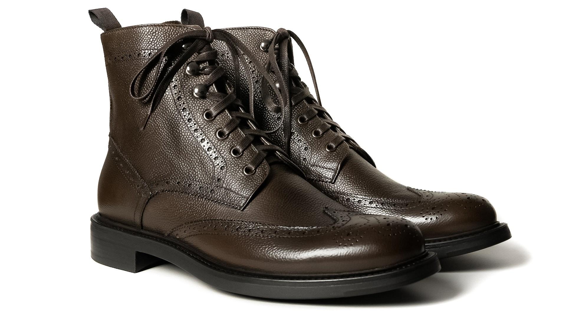 Brogue Boots Skóra Scotch Grain Marrone