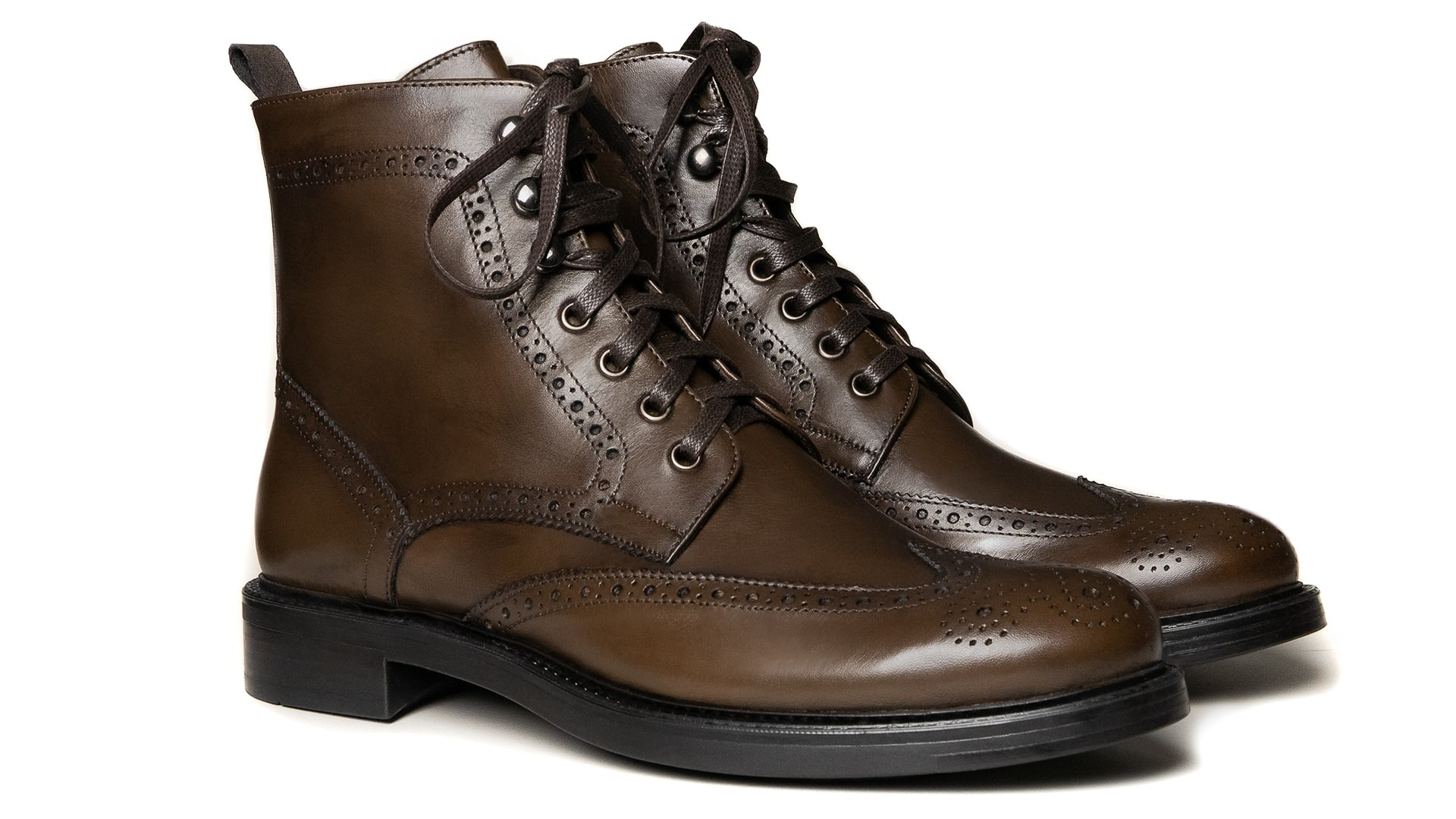 Brogue Boots Skóra Cielęca Legno