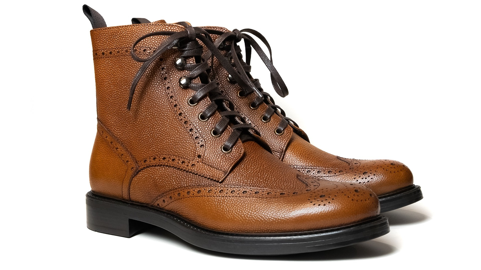 Brogue Boots Skóra Scotch Grain Cuoio