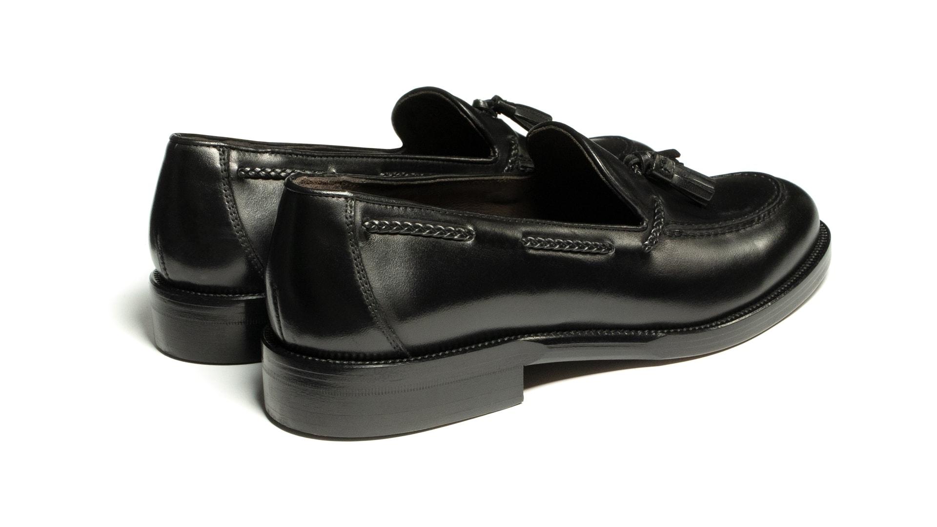 Tassel Loafers Skóra Crust Czarne