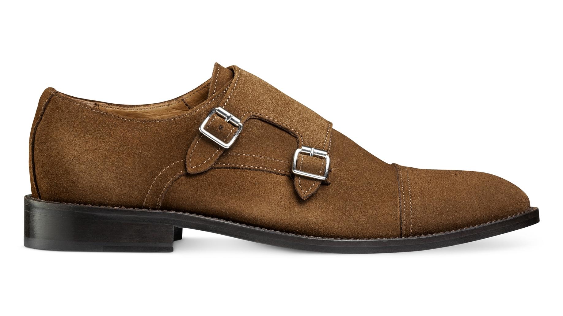 Monk Shoes Brązowe Zamsz