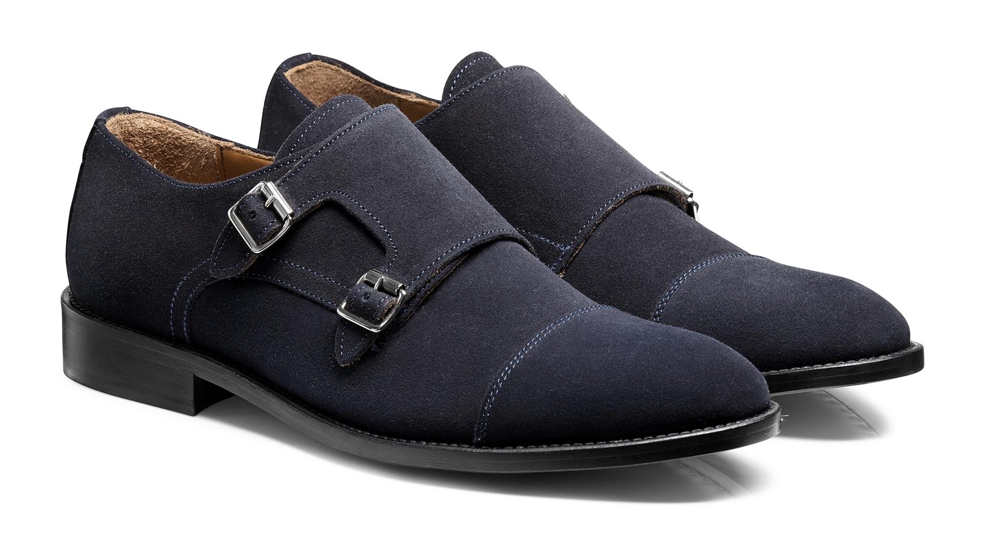 Monk Shoes Calf Suede Blue
