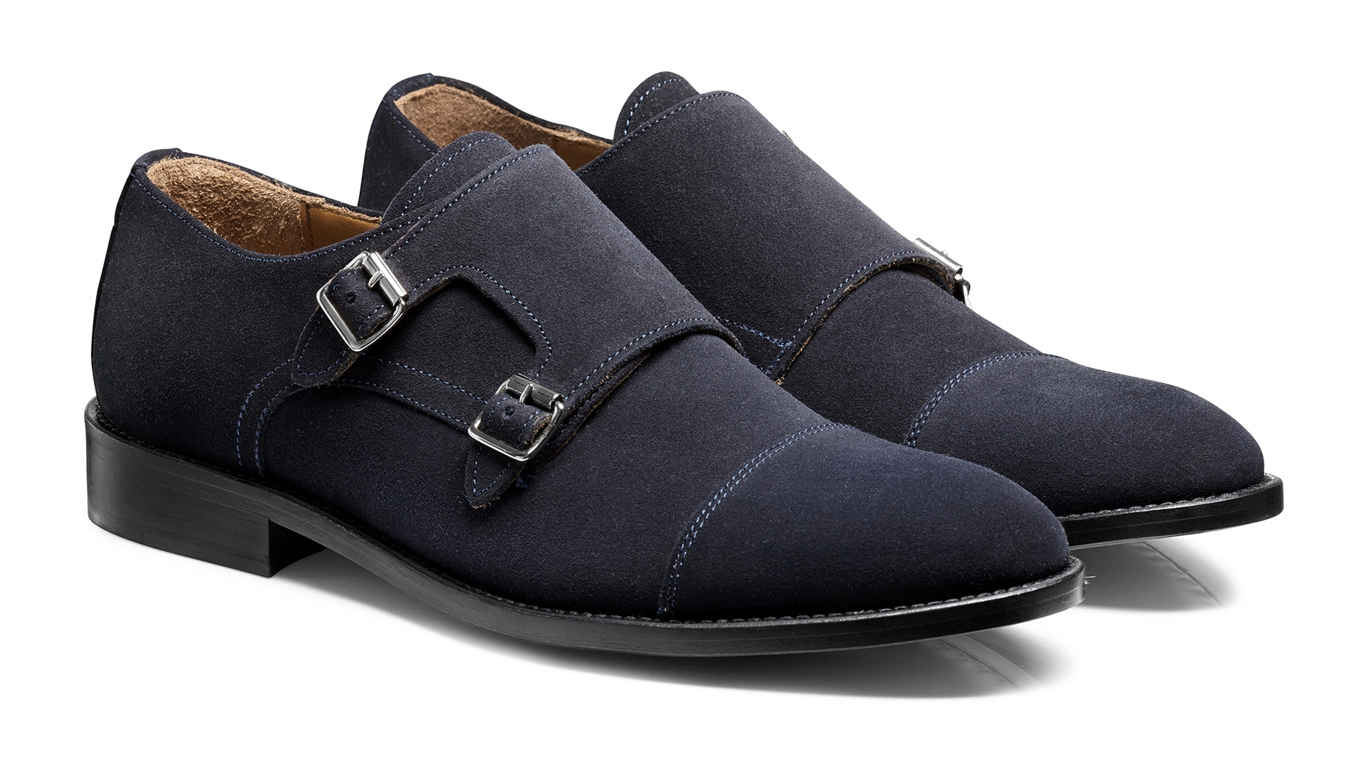 Monk Shoes Granatowe Zamsz