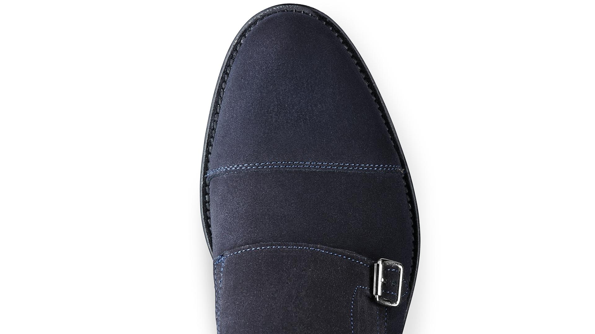 Monk Shoes Granatowe Zamsz