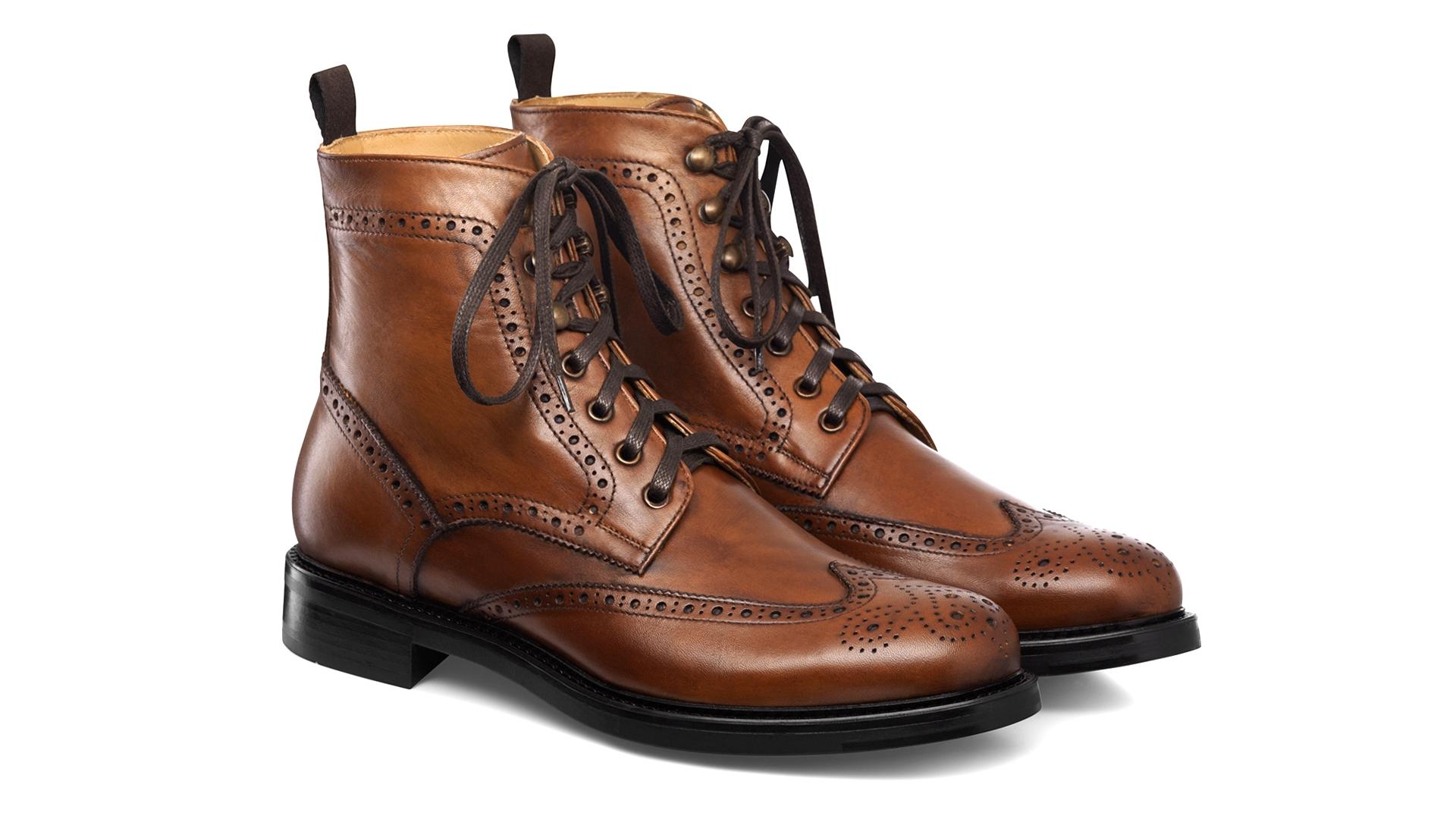 Brogue Boots Skóra Cielęca Cognac