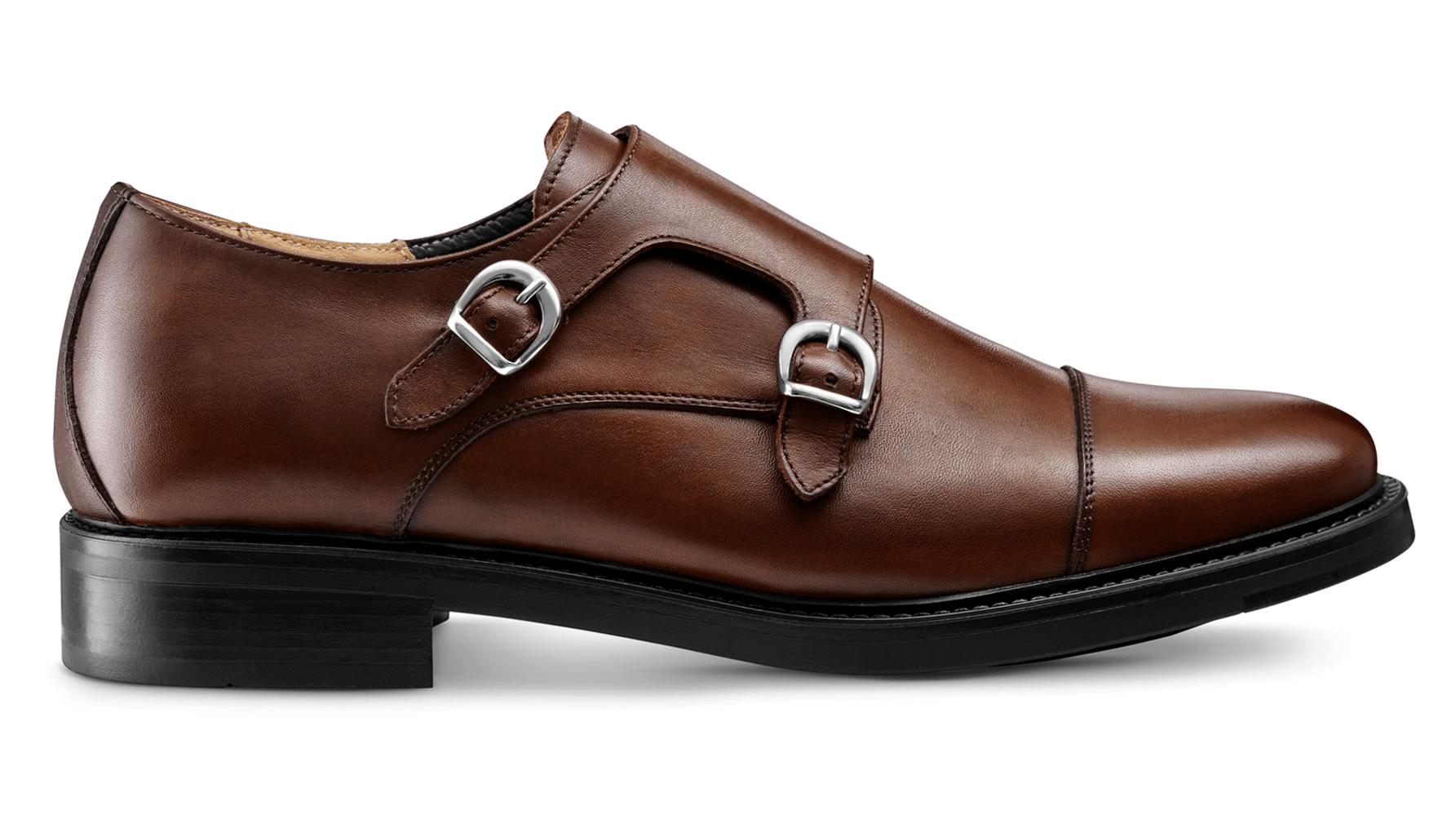 Monk Shoes Skóra Cielęca Brąz