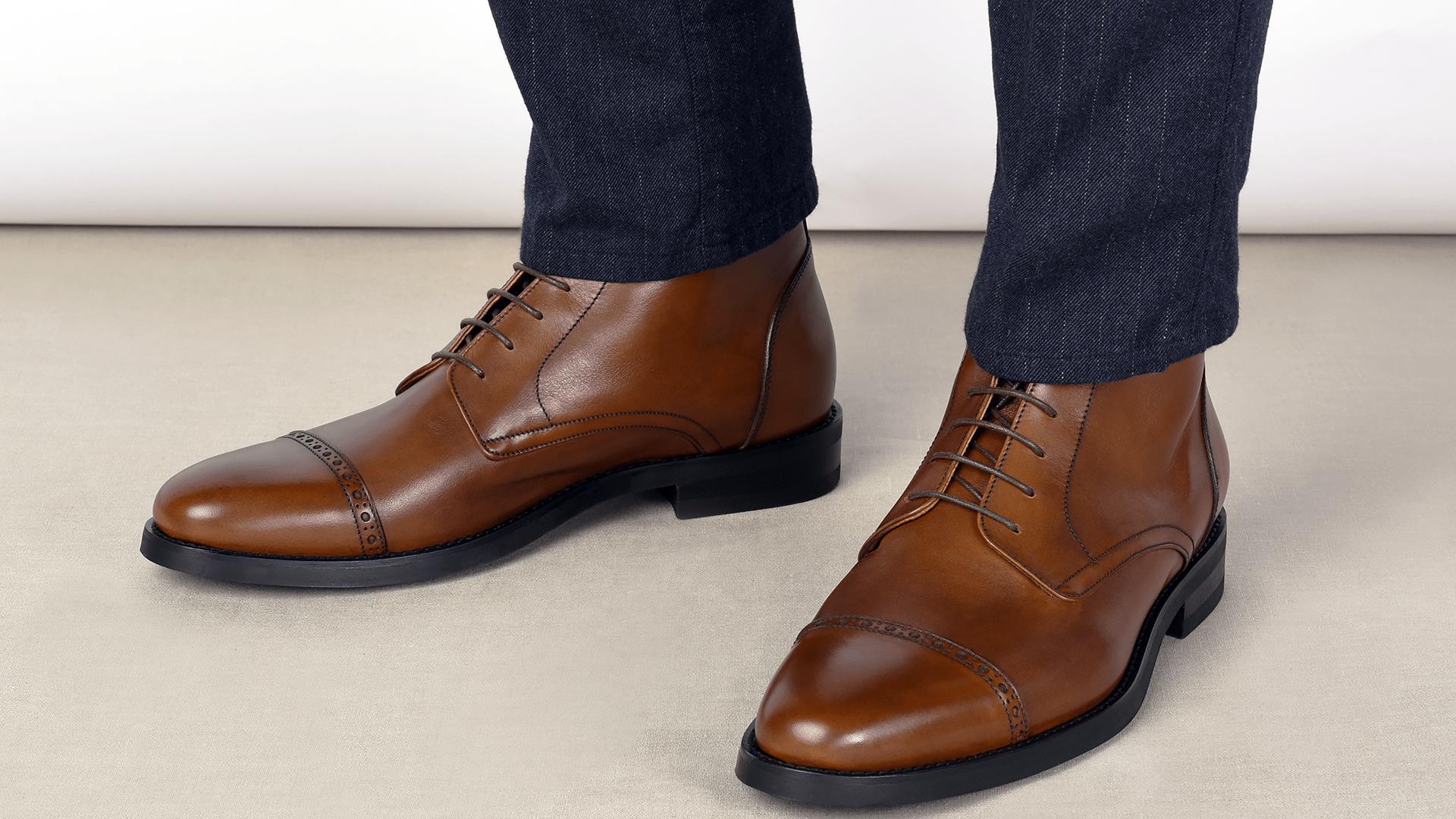 Quarter Derby Boots Skóra Cielęca Cognac