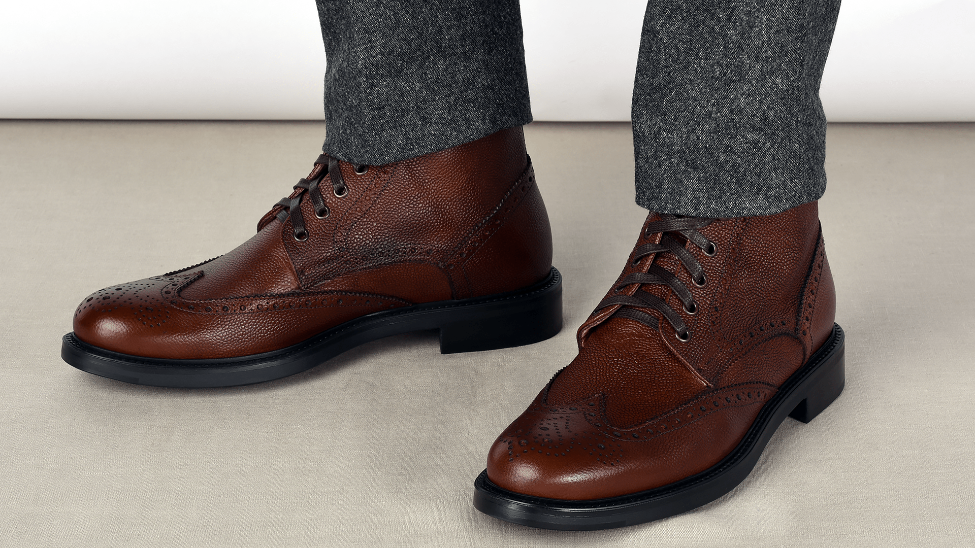Brogue Boots Scotch Grain Mahoń